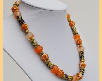 AUTUMN COLOURS - ARTISAN Neckalce with African, Brass, Ghana Glass & Old African Trade beads. Africa