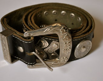 Vintage Leather Belt with silver tone studs and buckle Men's