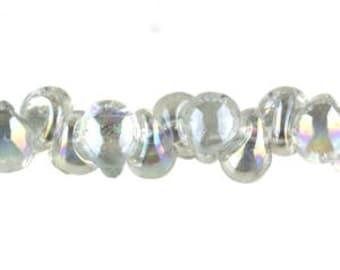 10 Mini Teardrop Handmade Luster Lampwork Beads --Mistique Pearl 4mm (2651)