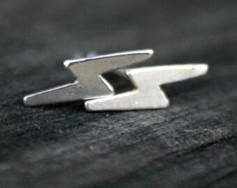 Sterling Silver Post Earrings - Lightning Bolts