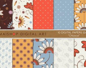 Digital Paper Floral 'Chiusca' Red, Blue, Orange High Resolution Digital Sheets for Card Making, Scrapbook, Crafts...