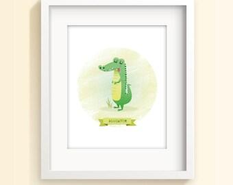 Animal nursery art, alligator print, zoo animal, children's art, baby prints, new baby gift, wall art, nursery decor, nursery wall art, boys