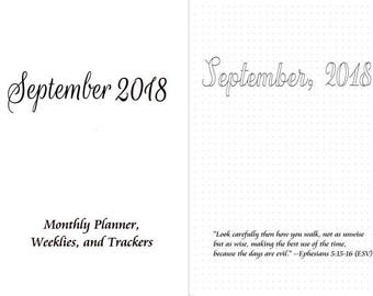 September, 2018 B6/B6 Slim Monthly,Weeklies on 2 pages, Hourly- Travelers Notebook Insert Several Trackers