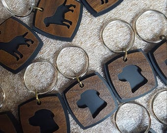 The Dog Key Chain Stainless and Wood