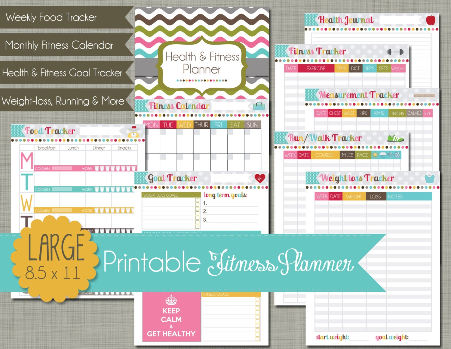 Large Printable Health and Fitness Planner Set Sized 8.5 x