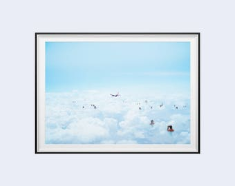 """Poster / poster A3 - photo-collage surrealism - photomontage - """"Get high"""" - clouds, swimming & plane - Clouds, bathing, flat"""