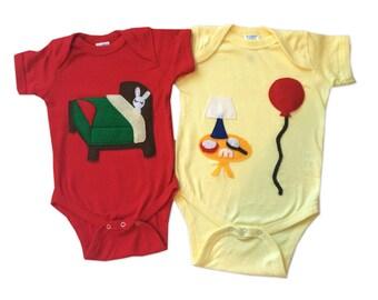 Good Night... Infant Bodysuits Double Combo - Bunny & Balloon