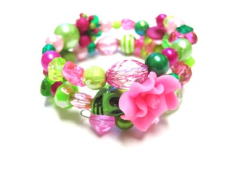 Day of The Dead Bracelet Sugar Skull Jewelry Cuff Pink Rose Green