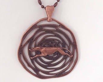 Antique Copper Maze Pendant w Copper Greyhound, Heart Bail, Copper Necklace
