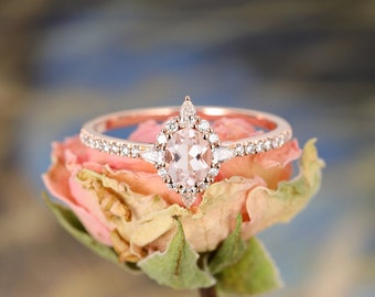 Morganite Engagement Ring Rose Gold Oval Unique engagement ring Vintage Wedding Marquise Diamond Women Eternity Bridal Set Anniversary Gift