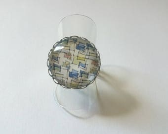 Glass cabochon Adjustable ring round geometric square
