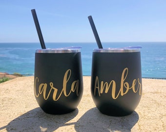 Wine Tumbler - Custom Wine cup - Personalized Wine Tumbler - Bachelorette Party Favors Personalized Wine Glass Wine Tumbler with Lid