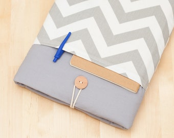 "15 inch Macbook case, 15 inch Macbook pro retina sleeve, 15"" macbook pro retina cover, macbook 15 sleeve - Chevron grey"