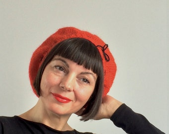 DELIGHTFUL Colette Beret Hat Smooth Tomato Red Baby Alpaca Black Bow Signature Handknit Pure Wool Vintage French Pinup Luxury Chic Bombshell