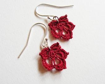 Red Crochet Leaf Earrings