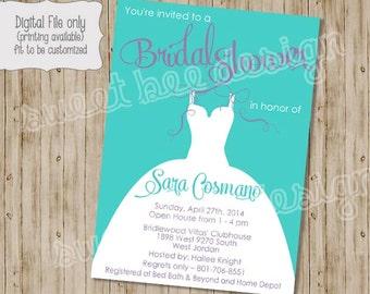 Wedding Dress Bridal Shower Invitation, Bridal Shower Invitation, Shower Invitation, Wedding Dress Invitation,  Bachelorette Invite