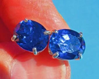 Sapphire Earrings - Beautiful Blue & Sterling Silver Post Earrings - September Birthstone Stud Earrings