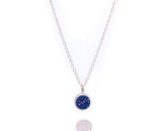 Druzy POP Necklace - Royal Blue Druzy in Sterling Silver - Druzy / Drusy Necklace - 925 Silver - Small Round Druzy Drop Charm Pendant