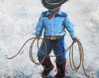 Little Cowboy ORIGINAL Painting, cowboy art, boys room, lasso, little boy painting, western art, cowboy prints wall art, Vickie Wade
