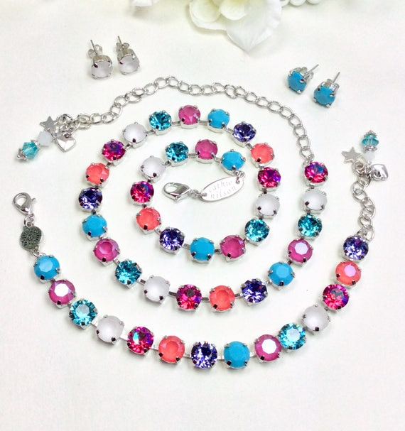 """Swarovski Crystal 8.5mm Necklace - Colorful """" Kaleidoscope """" Turquoise,Peony Pink, Lt. Coral, with White -Designer Inspired - FREE SHIPPING"""
