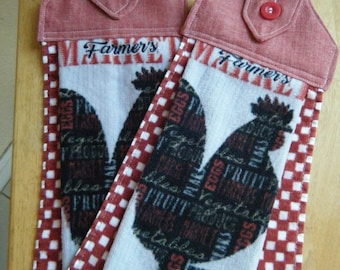Red Rooster Velour Terry Cloth Towel, Hanging Kitchen Towel Pair, Mother's Day Gift, Button Top Towel, Housewarming Gift, Gift under 15
