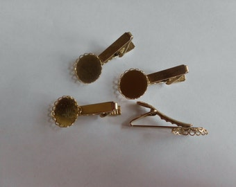Tie Clip Blank - Vintage- Costume Jewelry- Mens Jewelry- Scallop Setting- 1970's