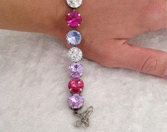 12mm swarovski crystal bracelet -COTTON CANDY
