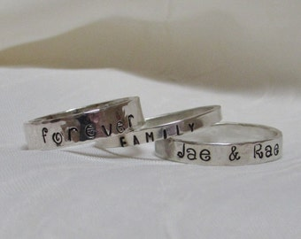 Personalized Sterling Silver Name Stacker Custom Hand Stamped Mommy Ring Graduation Anniversary Twins Posey Ring