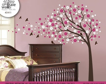 SALE-Cherry wall decal. Large tree wall decal for nursery, bedroom. Blossom tree with bird wall decals. Blowing cherry wall decal.