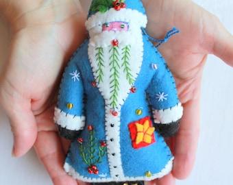 Blue Santa is Coming to Town Felt Santa Ornament, Handmade Felt Ornament