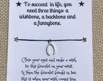 Wishbone charm wish bracelet/ waxed cord bracelet/ inspirational jewelry
