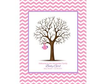 Baby Shower Guestbook, Thumbprint Tree, Chevron Nursery Print, Baby Shower Gift, Alternative Guest Book, Customized Nursery Print