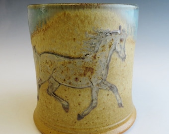 Sm Diner Mug  Arabian Horse Mare Flea Bitten Gray