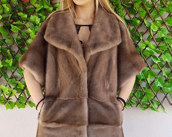 Real new mink fur coat jacket top pastel brown cape mexa nerzmantel fox sable