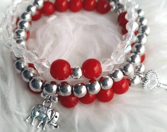 Set of 3, stack bracelets, beaded charm bracelets, red bracelet, layered bracelets, multi bracelets, red beaded, multilayered jewelry, gift