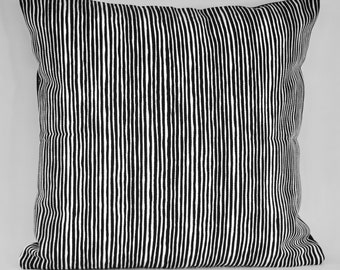 """Marimekko Decorative Pillow Cover, Double-sided, Upholstery weight-B/W/Solid Black 18""""x18"""" (45x45cm)"""