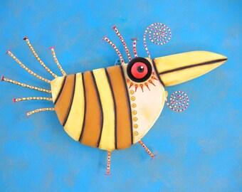 Lemon Chicken, MADE to ORDER, Original Found Object Wall Sculpture, Bird Wall Art, Wood Carving, Wall Decor, by Fig Jam Studio