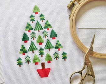 Christmas tree cross stitch pattern, modern Christmas cross stitch chart, simple, easy, quick, stylised, xmas motifs, PDF - instant download
