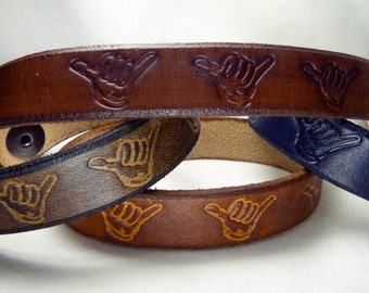 Shaka Real Leather Bracelet with Snap Button