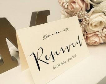Vintage/Rustic personalised 'Arrow' Wedding Reserved Signs- ivory or brown