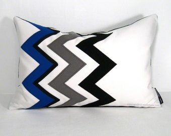 Royal Blue Chevron Pillow Cover, Modern Outdoor Pillow Cover, Decorative Black White Pillow Cover, Blue Sunbrella Cushion Cover, Mazizmuse