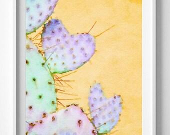 Cactus Art Print,Painting,Watercolor,Emerald Green,Purple.PIC NO 65
