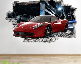 Ferrari Wall Sticker 3d Look   Boys Kids Bedroom Supercar Wall Decal Z544