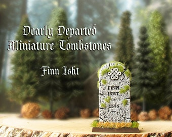 Dearly Departed - Halloween Miniature Tombstone Decor - Finn Isht - Handcrafted and Hand-Painted Decorative Gravestones - All Hallows Eve