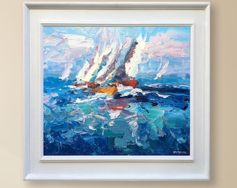Sailing Painting Oil Painting Original Painting Canvas Painting Sailboat Painting Sailing Art Ocean Painting Sailboat Regatta Art Ocean Art