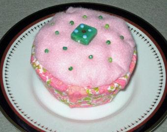 Pink Cupcake Pincushion, Pink Felt Pin Cushion, Beaded Pin Cushion, Seamstress Gift,