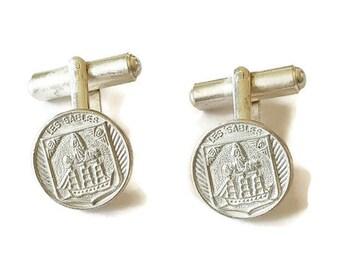 Vintage french cuff links souvenir from Les Sables d'Olonne, Vendee, Pays de la Loire, mid century silver tone cuff links