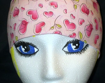 Handmade Light Pink with Pink Roses Chemo Cap, Skull Cap, Do Rag, Hair Loss, Valentines, Bald, Head Wrap, Motorcycle, Surgical Cap, Alopecia