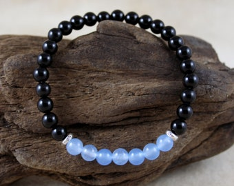 Men's Aquamarine & Black Agate March Birthstone Bracelet