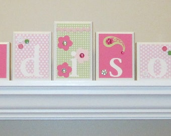 Nursery Decor . Nursery Name Blocks . Baby Name Blocks . Wood Name Blocks . Pink Green . Paisley . Flowers . Madison